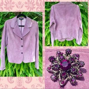 🌸💜🌷Purple Leather Jacket With Flower Buttons!!